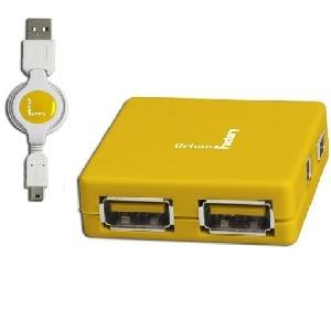 HUB USB2 4 PORTS URBAN FACT- MHU02UF JAUNE