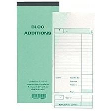 BLOC ADDITION 50 FEUILLETS AUTOCOPIANTS NUMÉROTÉS EN DUPLI - FORMAT 9,1X22,5 CM