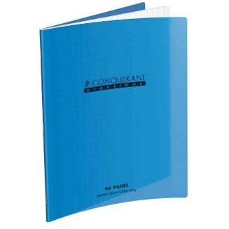 CAHIER 192 PAGES GRAND CARREAUX CONQUÉRANT 170*220 MM (PETIT FORMAT) POLYPRO BLEU