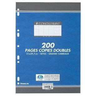 COPIES DOUBLES 200 PAGES PETITS CARREAUX 210x297 70G CONQUERANT
