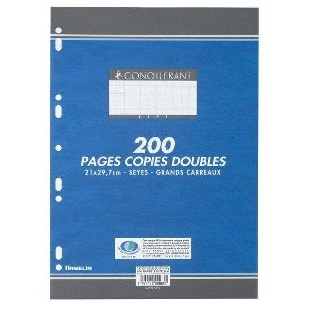 COPIES DOUBLES 200 PAGES GRANDS CARREAUX BLANC PERFORATION FORMAT 210*297 MM (GRAND FORMAT) HAMELIN 70G CONQUERANT 7 5x5