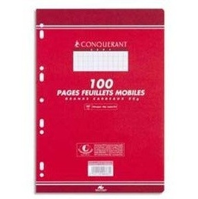 COPIES SIMPLES 210*297 MM (GRAND FORMAT) 80G 100 PAGES GRANDS CARREAUX BLANC CONQUERANT7