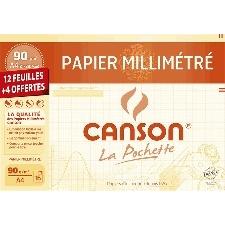 PAPIER MILLIMETRE CANSON 210*297 MM (GRAND FORMAT)  90G POCHETTE 12 FEUILLES