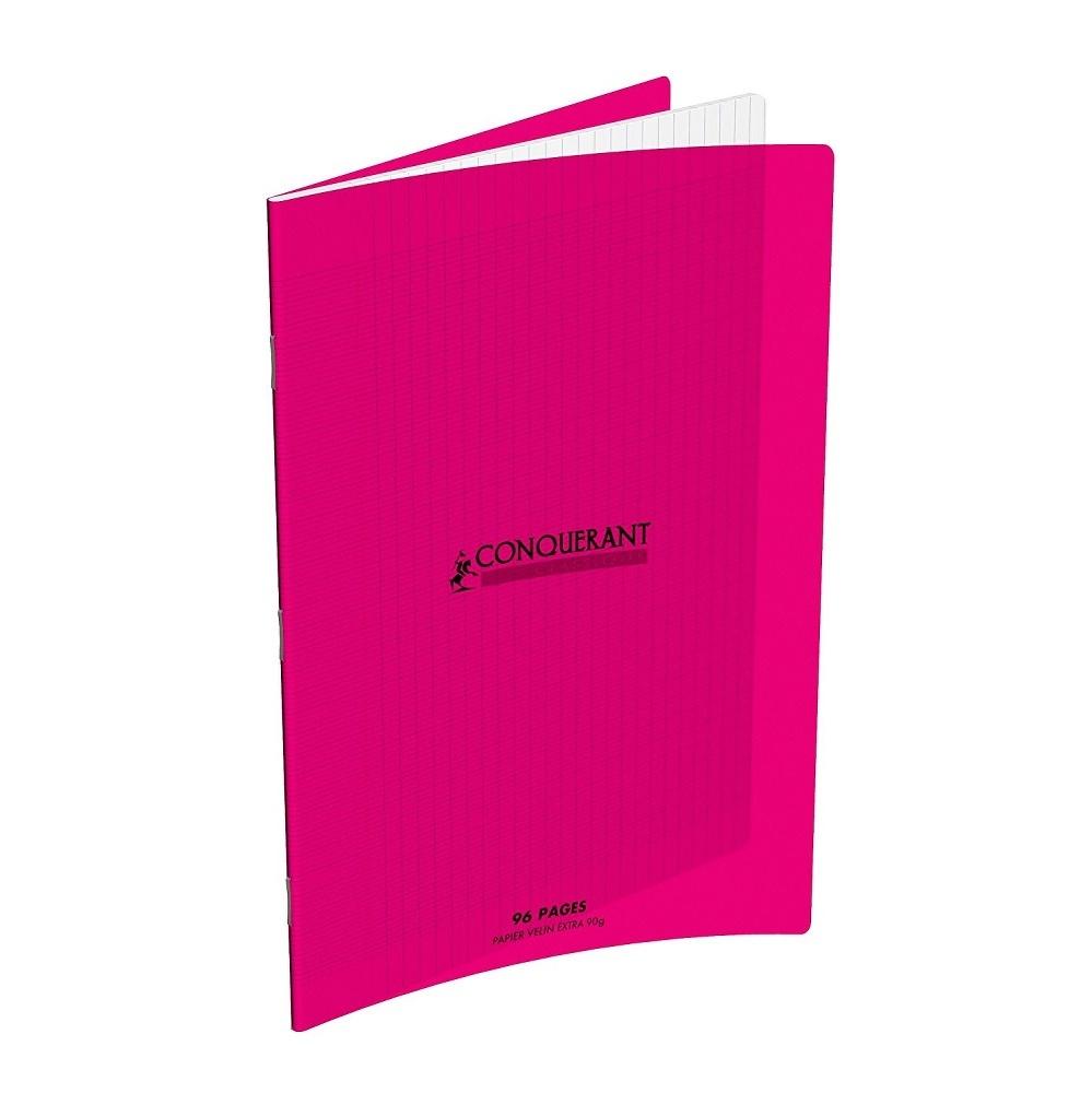 CAHIER 96 PAGES GRANDS CARREAUX CONQUERANT POLYPRO 170*220 MM (PETIT FORMAT) ROSE