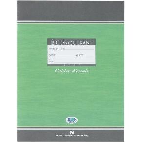 CAHIER ESSAIS 96 PAGES GRAND CARREAUX 170*220 MM (PETIT FORMAT) AGRAFE 60G CONQUERANT7
