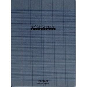 CAHIER 96PAGES GRANDS CARREAUX 210*297 MM (GRAND FORMAT) POLYPRO A4 90G GRIS