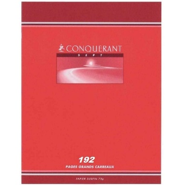 CAHIER 192 PAGES PETITS CARREAUX CONQUÉRANTS 210*297 MM (GRAND FORMAT) 70G
