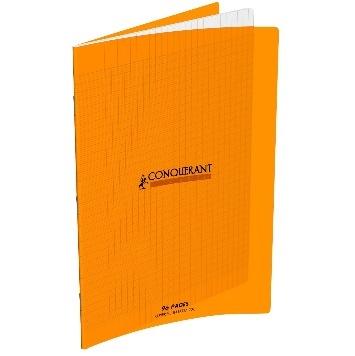 CAHIER 96 PAGES GRANDS CARREAUX CONQUÉRANT 240X320 POLYPRO ORANGE