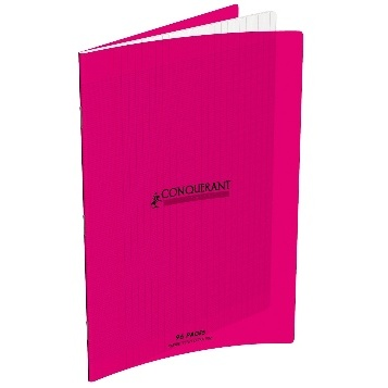 CAHIER 96 PAGES GRANDS CARREAUX CONQUÉRANT 240X320 POLYPRO ROSE