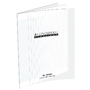 CAHIER 96 PAGES PETITS CARREAUX CONQUÉRANT 240X320 POLYPRO INCOLORE