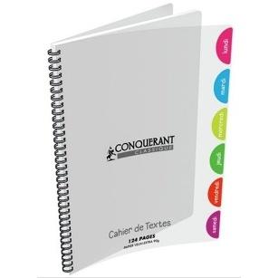 CAHIER DE TEXTE 124 PAGES GRANDS CARREAUX CONQUÉRANT 17X22  90G POLYPRO INCOLORE