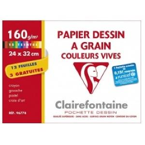 PAPIER DESSIN à GRAIN -CLAIREFONTAINE 12 FEUILLES 24 X 32 CM 3 GRATUITES COULEURS VIVES