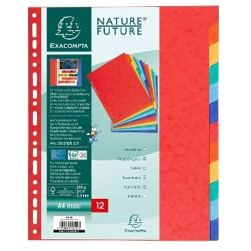 INTERCALAIRE CARTE LUSTREE A4 JEU 12 COULEURS ASSORTIES
