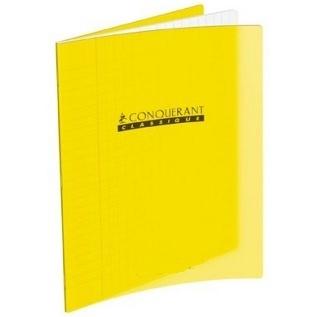 CAHIER 192 PAGES GRANDS CARREAUX CONQUÉRANT 170*220 MM (PETIT FORMAT) POLYPRO JAUNE