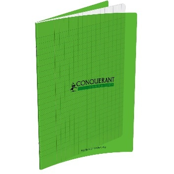 CAHIER 192 PAGES GRANDS CARREAUX CONQUÉRANT A4 - 210 X 297 POLYPRO VERT