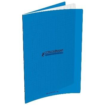 CAHIER 192 PAGES GRANDS CARREAUX CONQUÉRANT 240X320 POLYPRO BLEU
