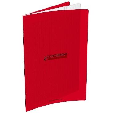 CAHIER 192 PAGES GRANDS CARREAUX CONQUÉRANT 240X320 POLYPRO ROUGE