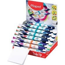 STYLO 4 COULEURS TWIN TIP PRESENTOIR DE 18 COLORIS ASSORTIS