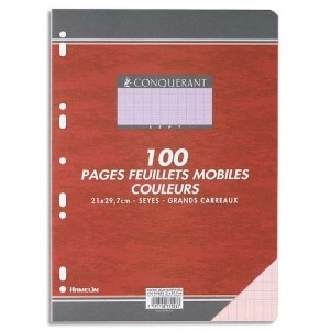 COPIES SIMPLES GRANDS CARREAUX FORMAT 210*297 100 PAGES  80G COULEUR VERT SEYES CONQURRANT SEPT