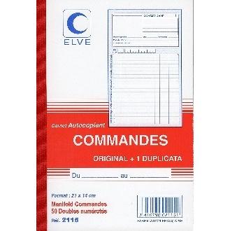 MANIFOLD COMMANDES - 210*140MM - 50 DUPLICATAS PAPIER AUTOCOPIANT