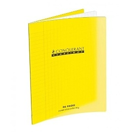 CAHIER GRAND CARREUAX 170*220 MM (PETIT FORMAT) 96PAGES POLYPRO JAUNE 90G SEYES CLASSIQUE