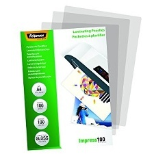 POCHETTES DE PLASTIFICATION STANDARD BRILLANTES IMPRESS 100 MICRONS A4-PAQUET DE 100 TRANSPARENT