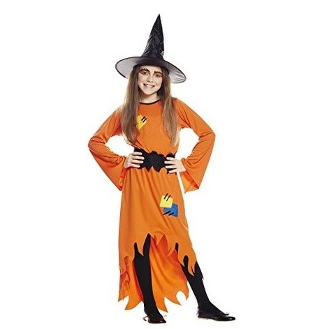 COSTUME SORCIERE ORANGE M 7-9 ANS