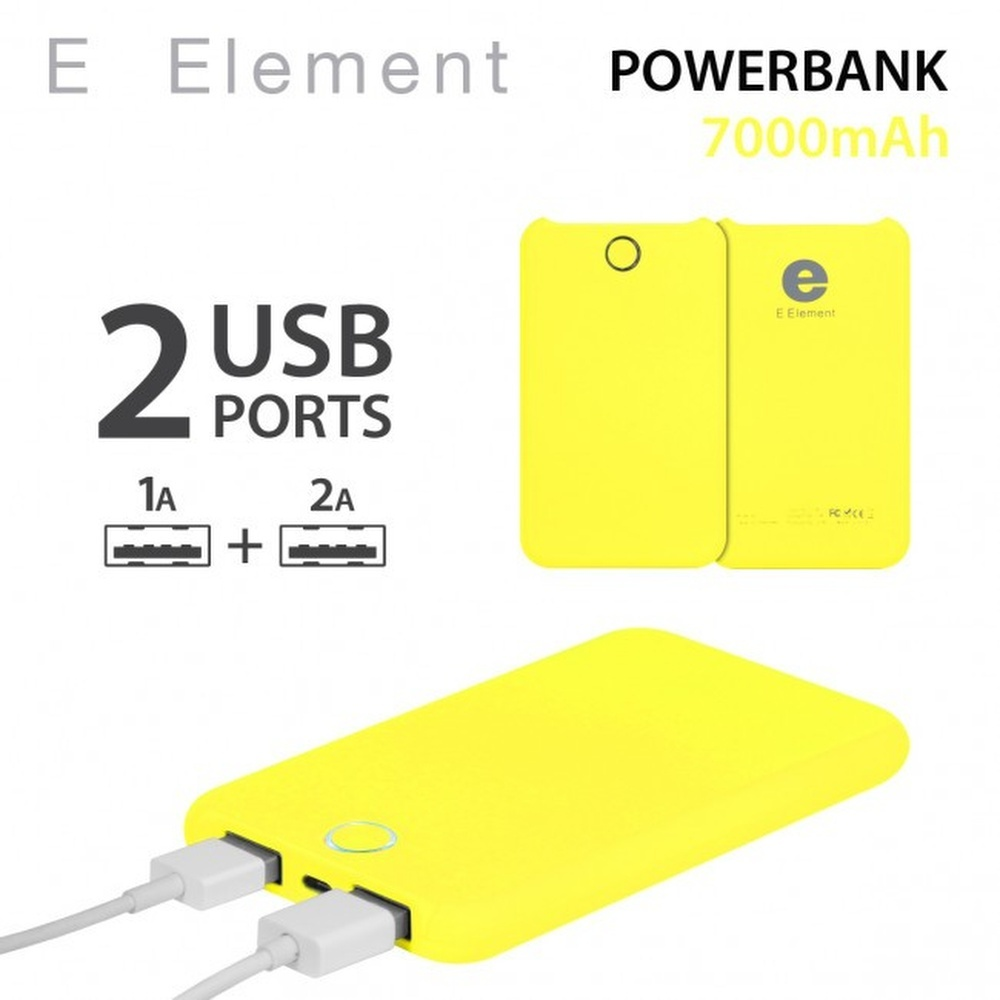BATTERIE AUTONOME FLUO YELLOW E ELEMENT POWERBANK 7000MAH