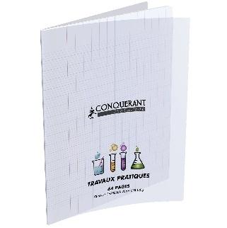 CAHIER 64 PAGES TRAVAUX PRATIQUES 170X220 POLYPRO 90G-120G CONQUERANT INCOLORE
