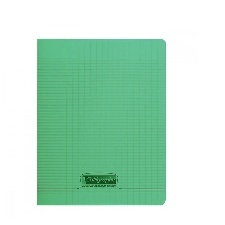 CAHIER GRANDS CARREAUX 140 PAGES 210x297 POLYPRO VERT REL. AGRAFE