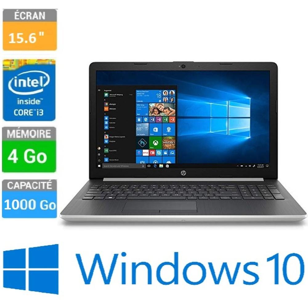 "ORDINATEUR PORTABLE 15-6"" HP 15-DA0025NK - I3-7020U - 4GB - 500GB -  HD - SILVER - WINDOWS 10"