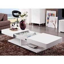 TABLE BASSE ARAMIS AVEC RANGEMENTS - LAQUé BLANC