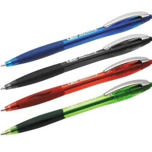 4 STYLOS-BILLE BIC ATLANTIS SOFT- POINTE DE 1 0 MM