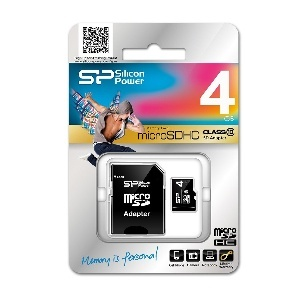 CARTE MEMOIRE 4GO MICRO SDHC10   ADAPT SILICON POWER