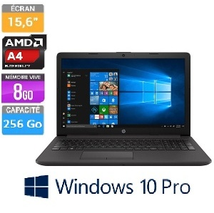 ORDINATEUR PORTABLE HP 15.6 255G7 R5-2500U 8 GO 256 SSD W10 PRO
