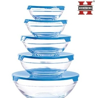 LOT BOLS EN VERRE HERZBERG HG-5007B 5 PIECES BLEU