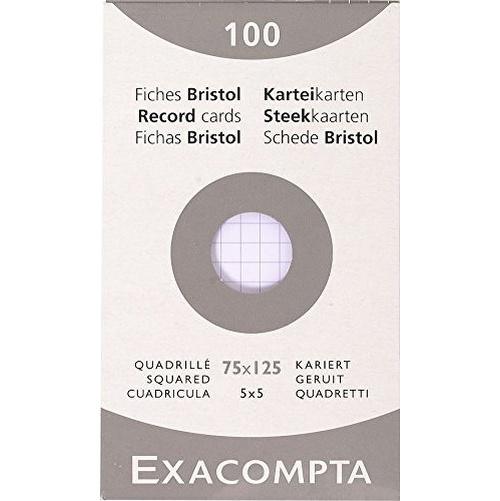 FICHES BRISTOL 205 G ETUIS 100 FICHES - EXACOMPTA