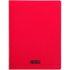 CAHIER 96 PAGES GRANDS CARREAUX CLAIREFONTAINE FORMAT 240*320 MM - ROUGE